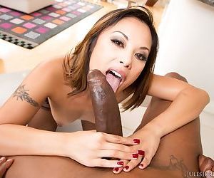 Beautiful Asian chick Kaylani Lei enjoys oral and vaginal sex with a BBC