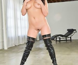 Hot Asian chick London Keys strips to thigh high black boots