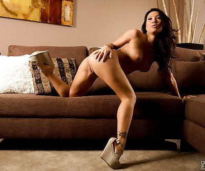 Top Asian pornstar Asa Akira revealing perfect boobs in platform shoes