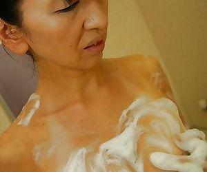 Slippy asian laddie Yoshiko Nagasawa taking shower plus caressing herself