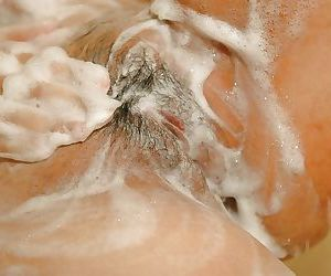 Sassy asian MILF with hairy cooter Haruka Fukuda interesting shower