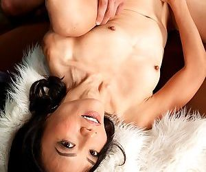 Horny Asian cougar Sahara Blue gets her wolf pussy fingered and pounded hard
