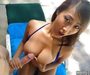 Outdoor fuck with an Asian brunette slut with big tits Sharon Lee
