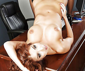 Ginger-head Asian babe Akira Lane treats her wet pussy right
