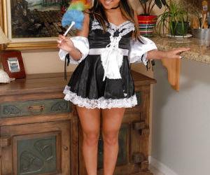 Asian first timer Tinah flashing black panties underneath uniform