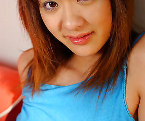 Cute amateur asian neonate unearthing her breast with an increment of ebony her panties