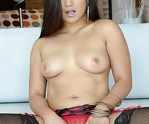 Asian chick Lana Violet revealing her tiny tits and shaved love holes