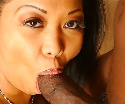 Asian MILF Jazmine Leih has some interracial cock sucking and fucking fun