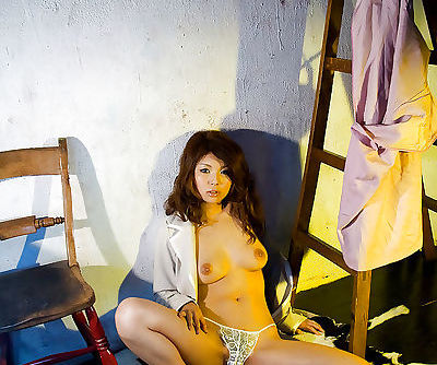 Stunning asian babe Azumi Harusaki slowly uncovering her graceful body