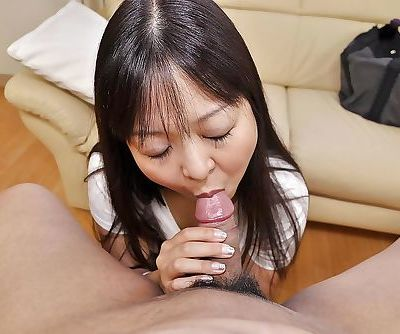 Asian MILF Hideko Okura gives head and gets her hairy cunt fucked tough