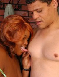 Obese older black lady Princess taking cumshot on saggy tits after titjob