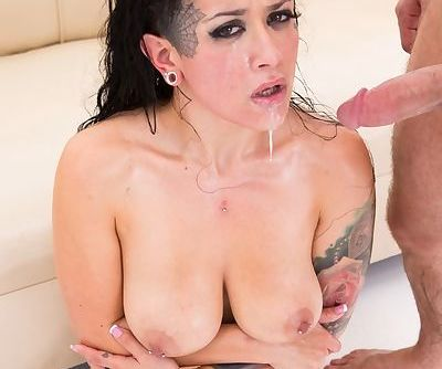 Busty chick Katrina Jade is oiled up before a hard fuck session