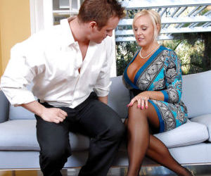 Mature bbw in lacy stockings Alexis Golden jumping on a stiff dick like a slut