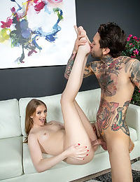 Young pornstar Maya Kendrick gets banged an jizzed on atop a white sofa