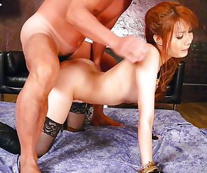 Stocking clad Japanese chick Yuna Hirose taking hardcore MMF 3some fuck