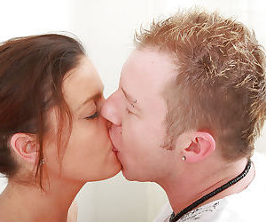 First timer Marie receiving tonguing and fingering of hairy vagina