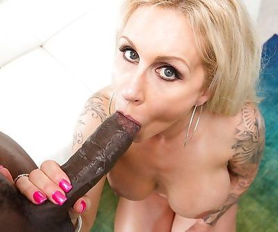 Tatted blonde MILF Ryan Conner getting ass fucked by massive black penis