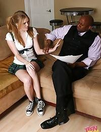 Big black dude is banging small Sindee Shay in her tight pussy