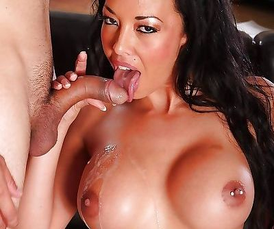Busty Asian MILF pornstar Rio Lee parking shaved cunt on top of big cock