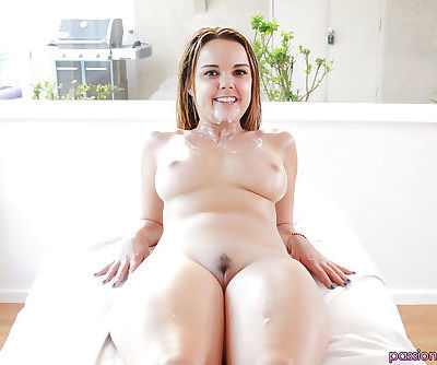 Busty hottie Dillion Harper receiving hardcore banging after oil massage