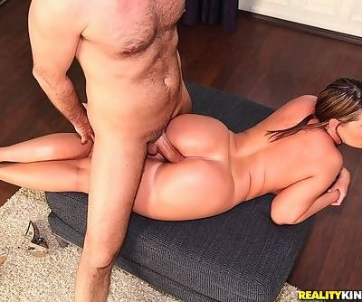 Chubby chick has her big bum oiled up- banged and then jizzed upon
