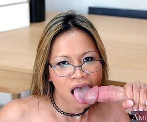 Mature asian teacher with shapely boobs bent over and shafted hard