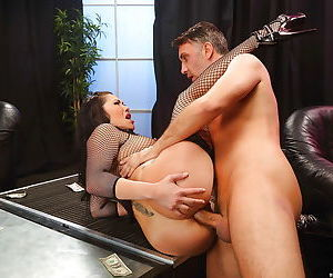Big cock enters the ass of London Keyes during Asian hardcore anal sex