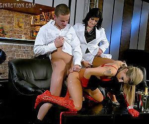 Sexy piss sluts Celine Noiret & Kristy Lust have a wet groupsex