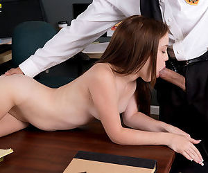 Young slut Trinity Rae fucks the schools security guard in his office