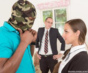 Naughty schoolgirl Amirah Adara sheds her uniform to get some big black cock