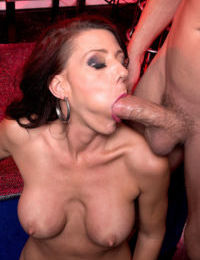 Mature with greedy cunt Soleil gets young dick to smash her tight holes