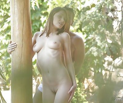 Outdoor ass fucking with an excellent pornstar Macy and her man