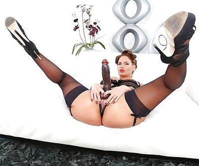 Big ass brunette MILFs Phoenix Marie & Ava Addams lick ass and strapon fuck