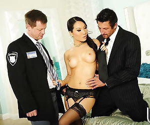 Asian vixen has some pussy licking and cock sucking fun with two hung lads
