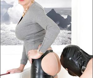 Naughty mature femdom receives ass licking from her human pet