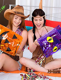Young girls play Cowboys and Indians before moving on to lesbian sex
