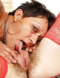 Mature lesbians with saggy tits toy hairy twats and lick ass in stockings