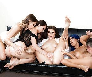 Leggy secretaries unleash big boobs during reverse gangbang with large dick