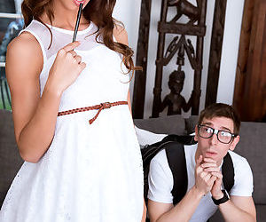 Cute young brunette flashes hot upskirt for sex education from her nerdy tutor