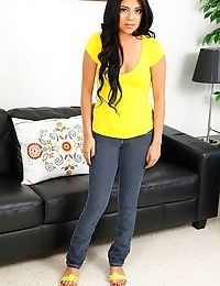 Cute first timer Lexy Villa posing fully clothed before casting couch debut