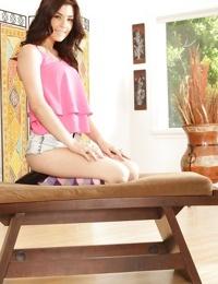 Teen cutie Jenna Reid posing seductively in shorts and argyle socks