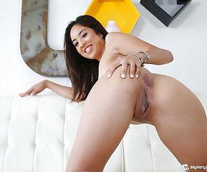 Brunette Asian first timer Mila Jade spreading pussy for solo girl shoot