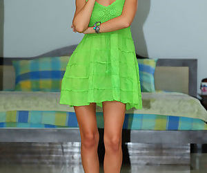 Stunning blonde Anjelica strips her green dress to spread wide open for you