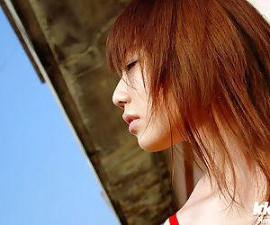 Hot asian neonate Chikaho Ito slipping off will not hear of bikini open-air