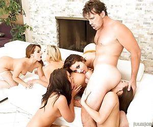 Sexy Asian Adriana Chechik ball sucking & licking ass in hot reverse gangbang