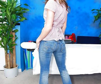 Teen babe Victoria takes off top- jeans and panties exposing big tits