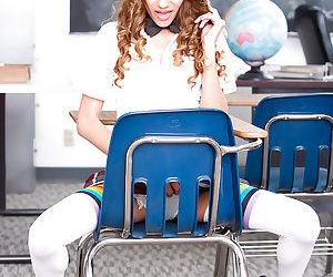 Teen babe Rebel Lynn stripping off schoolgirl uniform and long socks