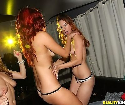 Lesbian party with Belle Sparkles- Stella May- and Kimmy Lee