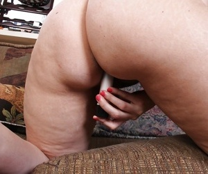 Overweight mom Nyla Parker pleasing trimmed snatch with her new sex toy