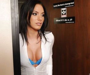 Hottie with big tits Juelz Ventura stretches her cunt in the office